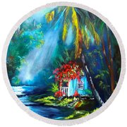 Hawaiian Hut In The Mist Round Beach Towel
