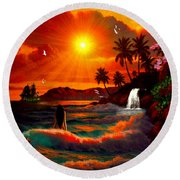 Hawaiian Islands Round Beach Towel