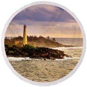 Hawaiian Lighthouse Round Beach Towel