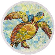 Hawaiian Sea Turtle 2 Round Beach Towel