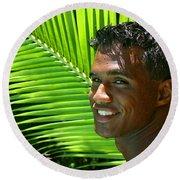 Hawaiian Smile Round Beach Towel