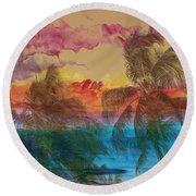 Hawaiian Sunset Round Beach Towel