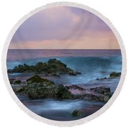 Hawaiian Waves At Sunset Round Beach Towel
