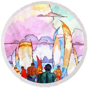 Hawaiians Round Beach Towel by Pg Reproductions