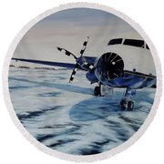 Round Beach Towel featuring the painting Hawker - Airplane On Ice by Marilyn  McNish