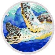 Hawksbill Sea Turtle Round Beach Towel