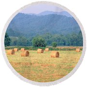 Hay Bales In A Field, Murphy, North Round Beach Towel