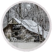 Round Beach Towel featuring the photograph Hay Barn In Snow by Debbie Green