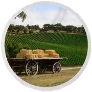 Hay Wagon Round Beach Towel
