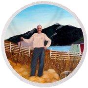Haymaker With Pitchfork  Round Beach Towel by Barbara Griffin