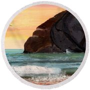 Haystack Rock At Kiwanda Round Beach Towel