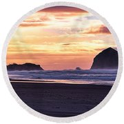 Haystack Rock Beach Walk Sunset Round Beach Towel