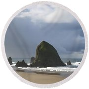 Haystack Rock Round Beach Towel by Jeanette French