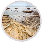Hazard Beach - The Jagged Of Montana De Oro State Park Round Beach Towel