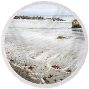 Hazard Reef - The Jagged Rocks Of Montana De Oro State Park Round Beach Towel