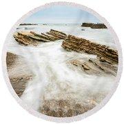 Hazard Tides - Jagged Rocks Of Montana De Oro State Park Round Beach Towel