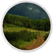 Hazy Moon Meadow Round Beach Towel by RC deWinter