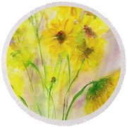 Hazy Summer Round Beach Towel
