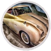 Round Beach Towel featuring the photograph Hdr Classic Car by Paul Fearn