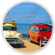 Cousins At Royal Palms  Round Beach Towel by Joe Schofield