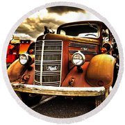 Hdr Fire Truck Round Beach Towel