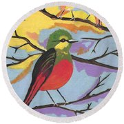 Round Beach Towel featuring the painting He Aint That Tweet by Kathleen Sartoris