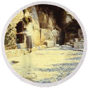 He Is Risen Round Beach Towel