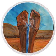 Round Beach Towel featuring the painting He Is The Rock  by Cassie Sears