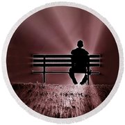 He Spoke Light Into The Darkness Round Beach Towel