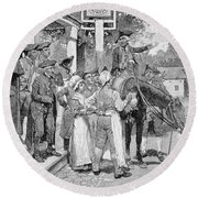 He Stops At The Sign Of The Weathervane, Illustration From Tilighmans Ride From Yorktown, Pub Round Beach Towel