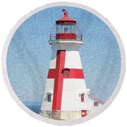 Head Harbour Lighthouse Pencil Sketch Round Beach Towel