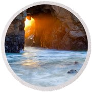 Head Light Round Beach Towel