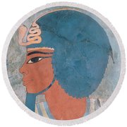 Head Of Amenophis IIi From The Tomb Of Onsou, 18th Dynasty Round Beach Towel