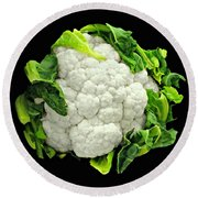 Head Of Cauliflower Round Beach Towel by Diana Angstadt