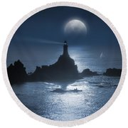 Heading For The Light Round Beach Towel