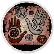 Healing Hands Fresco Round Beach Towel
