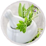 Healing Herbs In Mortar And Pestle Round Beach Towel