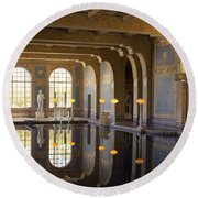 Hearst Castle Roman Pool Reflection Round Beach Towel