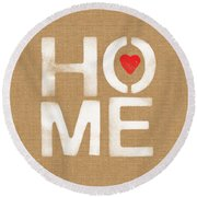 Heart And Home Round Beach Towel