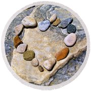 Heart And Stones  Round Beach Towel