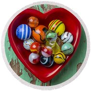 Heart Dish With Marbles Round Beach Towel