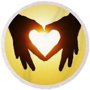 Heart Hands Round Beach Towel
