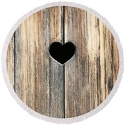 Round Beach Towel featuring the photograph Heart In Wood by Brooke T Ryan