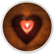 Heart Light Round Beach Towel by Aaron Aldrich