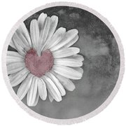 Heart Of A Daisy Round Beach Towel