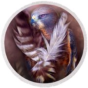 Heart Of A Hawk Round Beach Towel