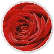 Heart Of A Red Rose Round Beach Towel