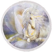 Round Beach Towel featuring the mixed media Heart Of A Unicorn by Carol Cavalaris
