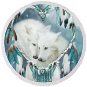 Heart Of A Wolf Round Beach Towel by Carol Cavalaris
