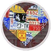 Heart Of America Usa Heartland Map License Plate Art On Red Barn Wood Round Beach Towel